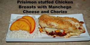 Persimon stuffed Chicken Breasts with Manchego Cheese and Chorizo #Recipe