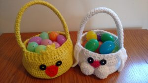 Adorable Crocheted Bunny & Chick Baskets